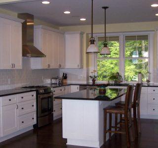 Charlevoix Cottage Kitchen detail with work island.