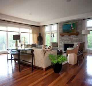 Deer Lake Renovation wide angle Living Room.